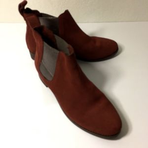 TOMS Ella Ankle Booties Suede and Silver Sz 7.1/2